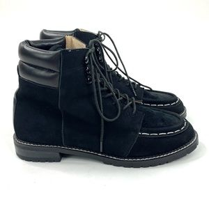 Raye the Label Black Suede Boots Lace Up Lug Sole